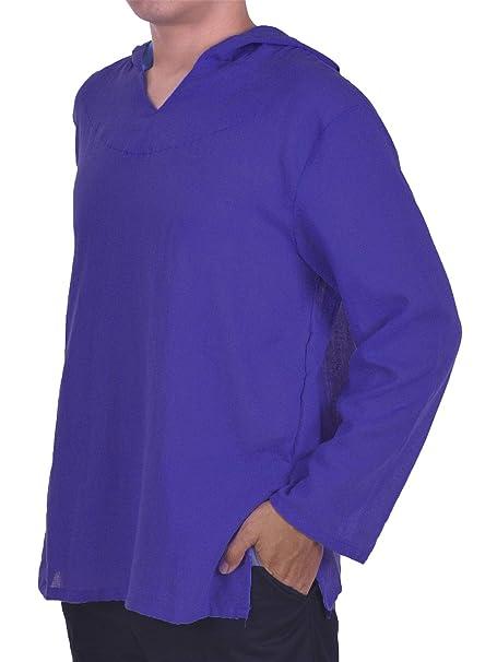 Lofbaz de los Hombres Sudadera con Capucha Camisa Hippie de Playa de Yoga Boho 100% algodón Suave