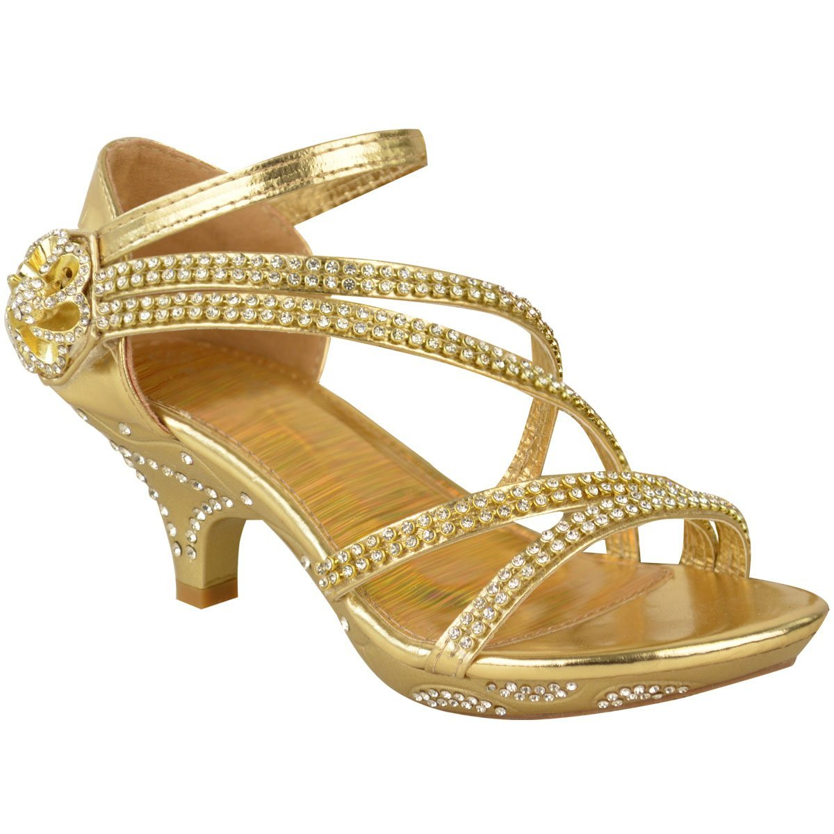 Fashion Thirsty Girls Kids Low Heel Wedding Diamante Sandals Bridesmaid Party Shoes Size US 2