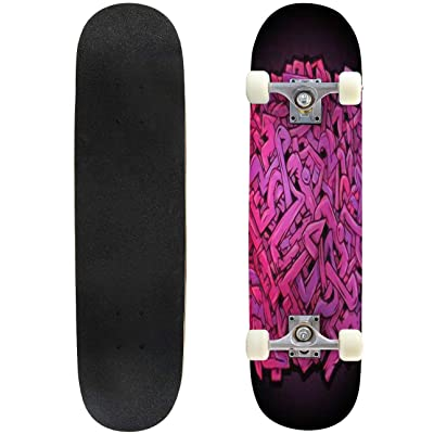 """Round Pink and Violet Wild Style Abstract Graffiti Piece Skateboard 31""""x8"""" Double-Warped Skateboards Outdoor Street Sports Skateboard for Beginners Professionals Cool Adult Teen Gifts : Sports & Outdoors"""