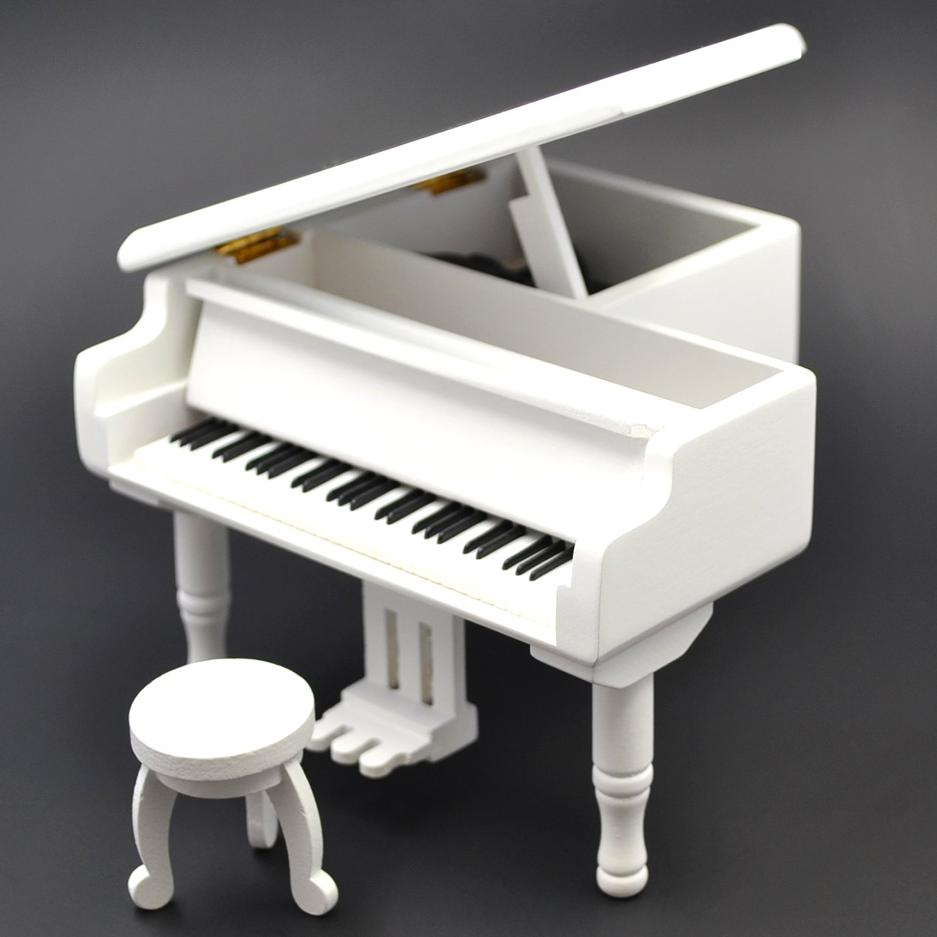 Piano Model Music Box for Music lover Christmas gift (White-Piano)