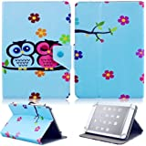 Tsmine Emerson EM756 7.0-Inch Tablet Flip Cartoon Case - Universal Protective Lightweight Premium Kids Cute Owl Printed PU Leather Case Cover, Owl Baby
