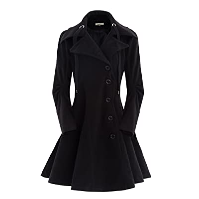 ForeMode Women's Wool Trench Coat Winter Double-Breasted Jacket with Belts: Clothing