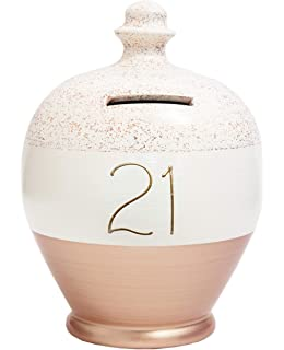 Glazed Ceramic Birthday Money Pot Of Dreams Piggy Bank ~ 21