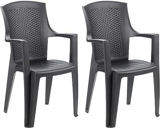 FineHome - Juego de 2 sillas apilables XXL para jardín, aspecto de ratán, apilables, color antracita: Amazon.es: Jardín
