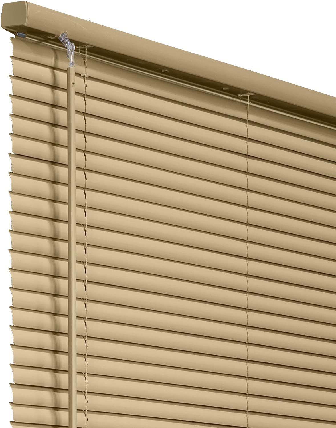 """CHICOLOGY Cordless 1-Inch Vinyl Mini Blinds, Horizontal Venetian Slat Light Filtering, Darkening Perfect for Kitchen/Bedroom/Living Room/Office and More, 23""""W X 64""""H, Cappuccino (Commerical Grade)"""