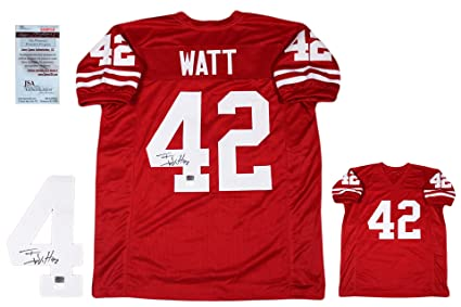 d61e30005fa Image Unavailable. Image not available for. Color  TJ Watt Autographed  SIGNED Custom Jersey - JSA Witnessed Authentic ...