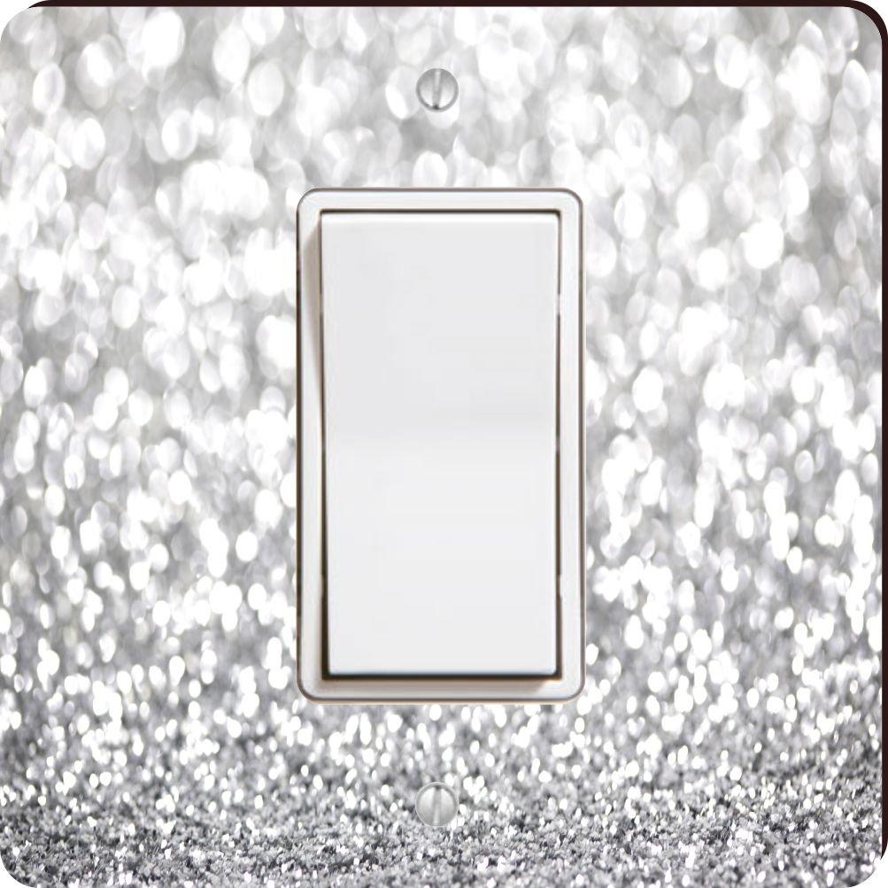 Rikki Knight 45946 Single Rocker Silver Glitter Design (Not Actual Glitter) Design Light Switch Plate