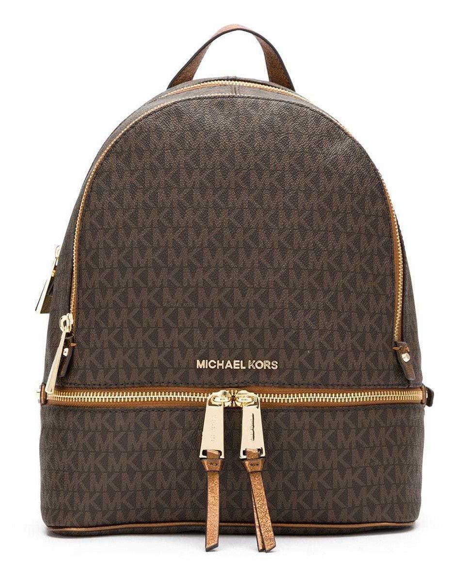 MICHAEL Michael Kors Rhea Medium Logo Backpack in Brown/Dark Bronze