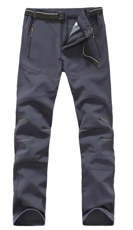 Tofernメンズ防水傷付きフリース暖かい通気性ソフトシェルパンツ冬スキーハイキング登山アウトドアパンツ B077KV3KFY US Size L (Lable 2XL) グレー グレー US Size L (Lable 2XL)