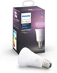 Philips Hue E27 White and Color Ambiance LED Smart Bulb, Bluetooth & Zigbee Compatible (Hue Hub Optional), Works with Alexa & Google Assistant