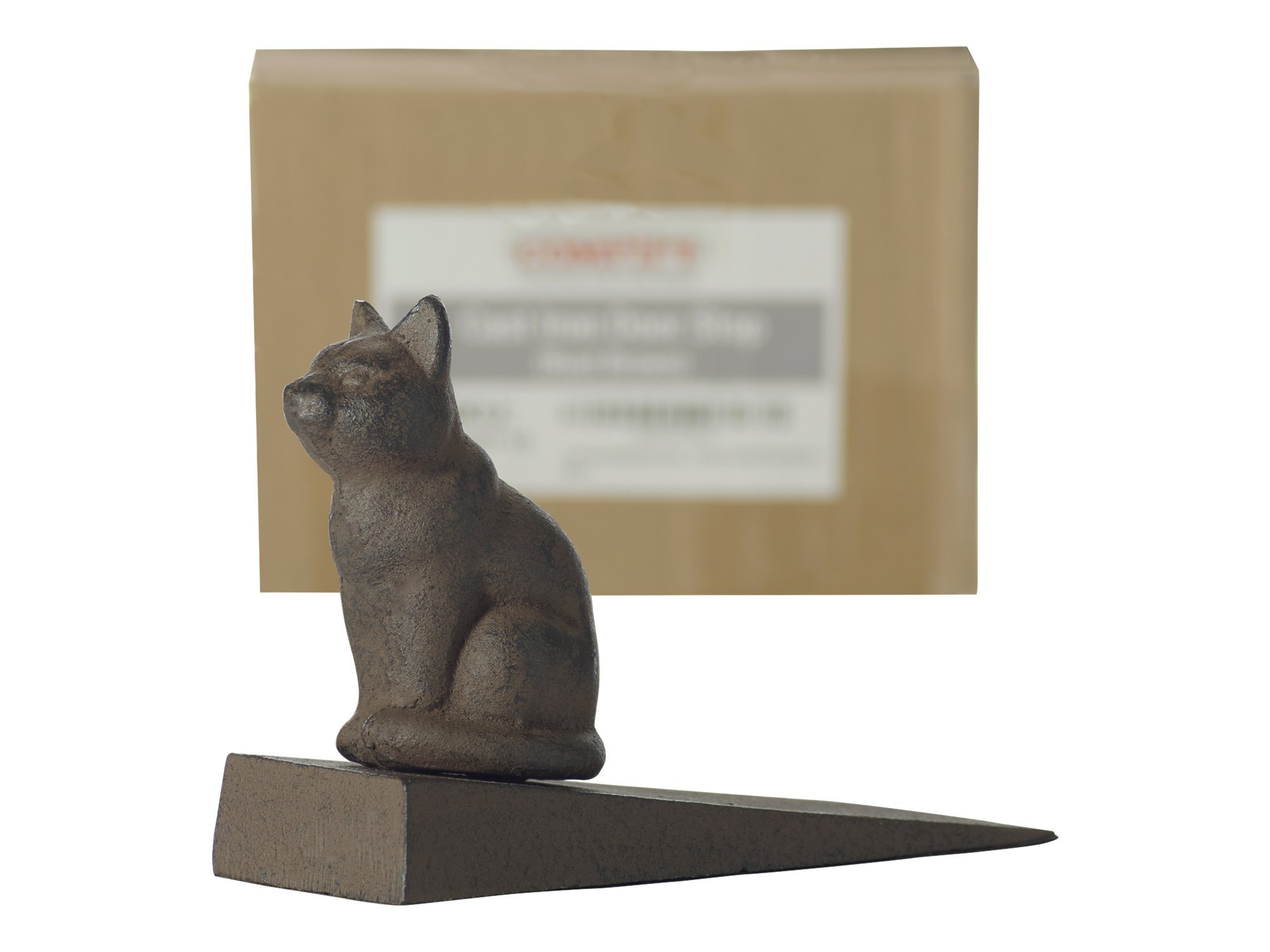 Comfify Vintage Cast Iron Cat Door Stop Wedge Lovely Decorative Finish, Padded Anti-Scratch Felt Bottom Protects Floors   in Rust Brown (Cat Door Stop CA-1507-12) by Comfify (Image #2)