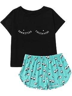 5819dada0fc0 DIDK Women s Cute Cartoon Print Tee and Shorts Pajama Set at Amazon ...