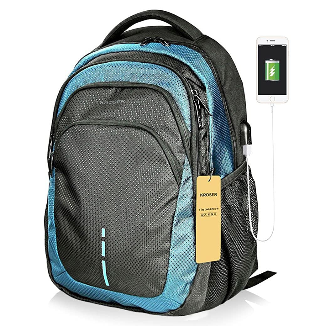 Laptop Backpack 15.6 Inch Laptop Bag Casual Daypack Large Capacity Water Repellent Computer Backpack with USB Charging Port for School Travel Sports Women Men-Black Blue