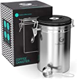 Coffee Gator Stainless Steel Container - Canister with co2 Valve, Scoop and eBook - Large, Stainless steel