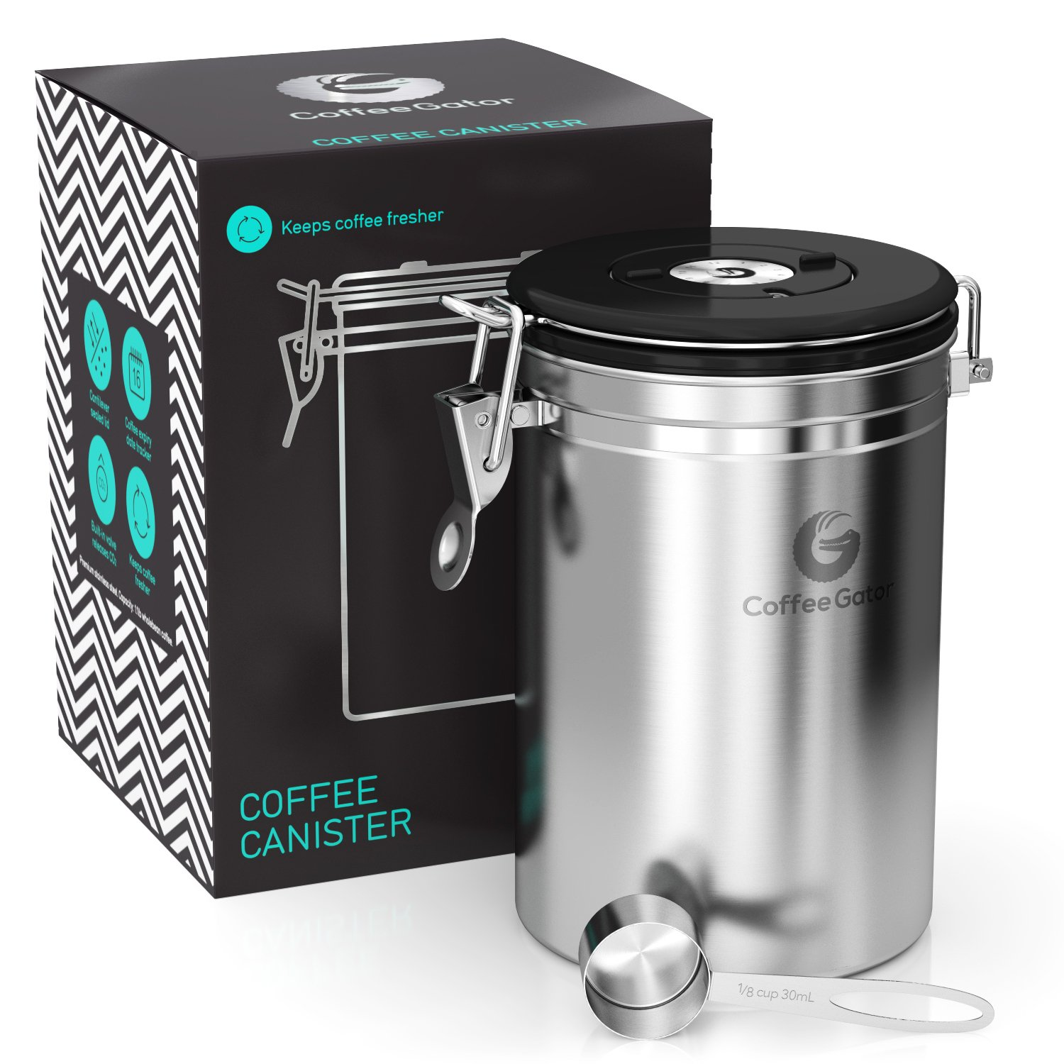 Coffee Gator Stainless Steel Container - Canister with co2 Valve, Scoop and eBook - Large, Silver