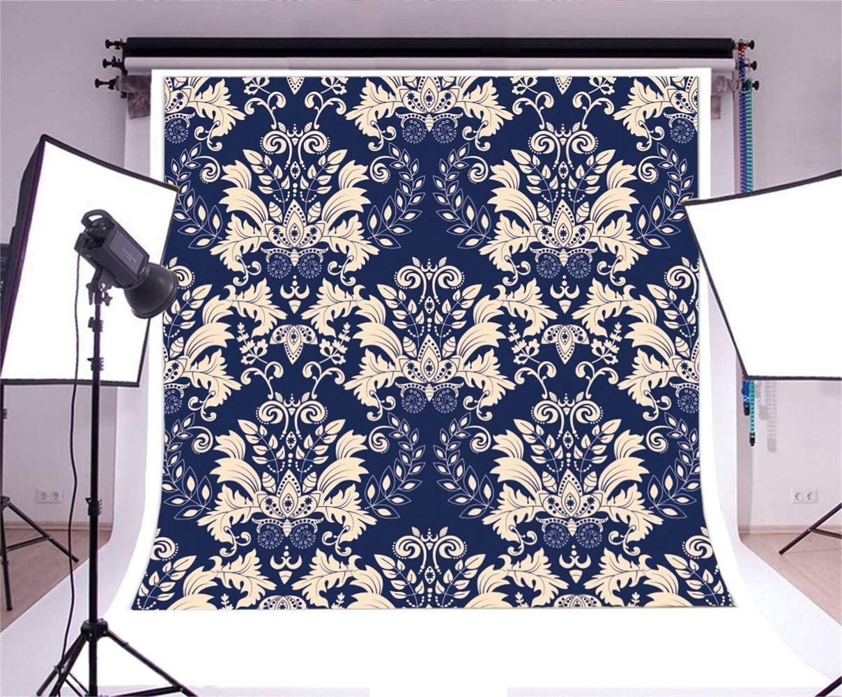 7x7ft Retro Chinese Style Symmetrical Flowers Illustration Polyester Photography Background Floral Pattern Backdrop Personal Portrait Shoot Indoor Decors Old Fashioned Wallpaper Studio Props