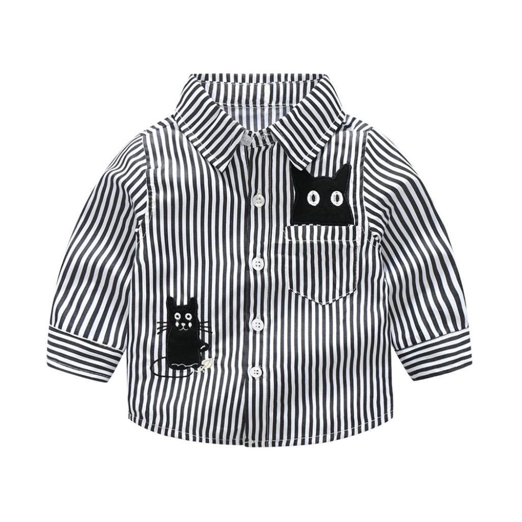 Dinlong Baby Boys Clothes Embroidery Cartoon Cat Striped Tops Gentlemen T Shirt Din_95