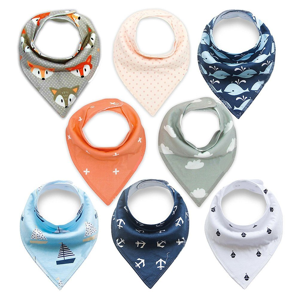 Baby Bandana Drool Bibs, Unisex 8 Packs Baby Bibs for Drooling and Teething, 100% Organic Cotton, Soft and Absorbent, Hypoallergenic - Gift Set for Boys and Girls of 0-24 Months (Style A) MuifaDirect