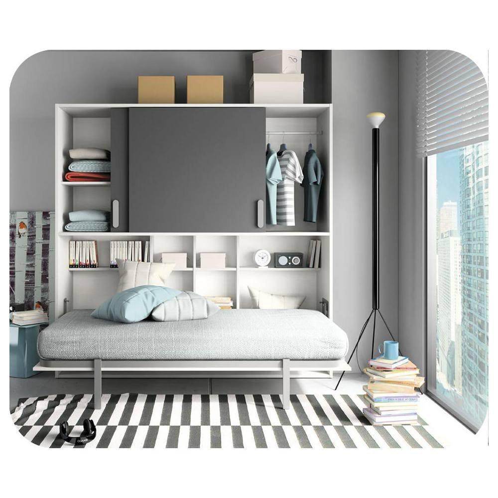Armario cama Planet Color Blanco y antracita, gris, 90 x 190 ...
