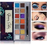 Colorful Eyeshadow Palette - FEITA Professional Colors Eye shadow 14 Bright Colors Makeup Palette with Eyeshadow Brush - Matte and Metal Glitter Powder Long Lasting Waterproof