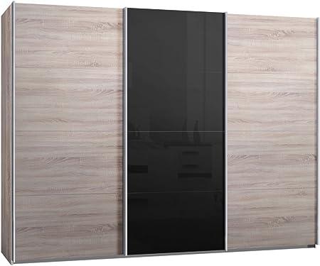 Armario de puerta corredera de roble Sonoma y cristal negro, 300 cm: Amazon.es: Hogar