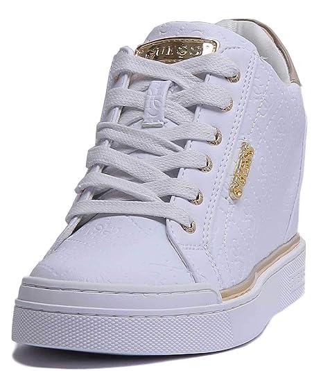 1c4dd50c24380f Guess Schuhe Frau hohe Turnschuhe mit innerem Keil FL5FWUFAL12 Größe 35 Weiß