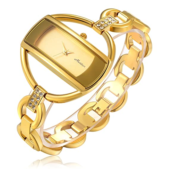 stainless half swiss bangle go ro plated quartz gold ladies watch watches steel index