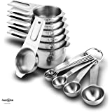 Auxcuiso Measuring Cups and Spoons Set 14 Pieces Durable Stainless Steel Stackable with D Rings