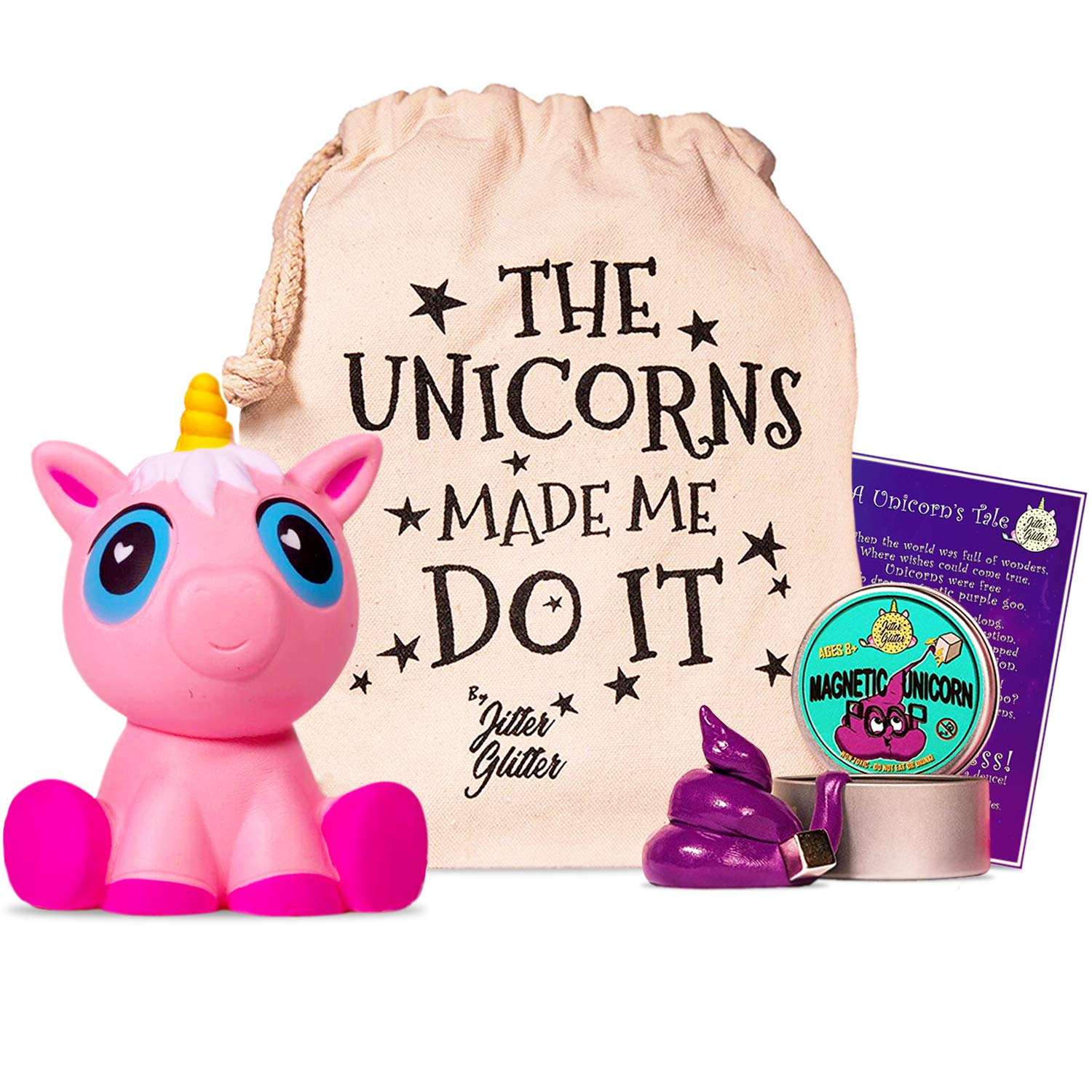 Jumbo Pink Unicorn Squishy and Magnetic Unicorn Putty with Magnet - Unicorn Stress Relief Kit - Funny Gift for Adults and Kids who Love Unicorns. Sensory Play Toy Set for Fun Silly Therapy, Ages 8+