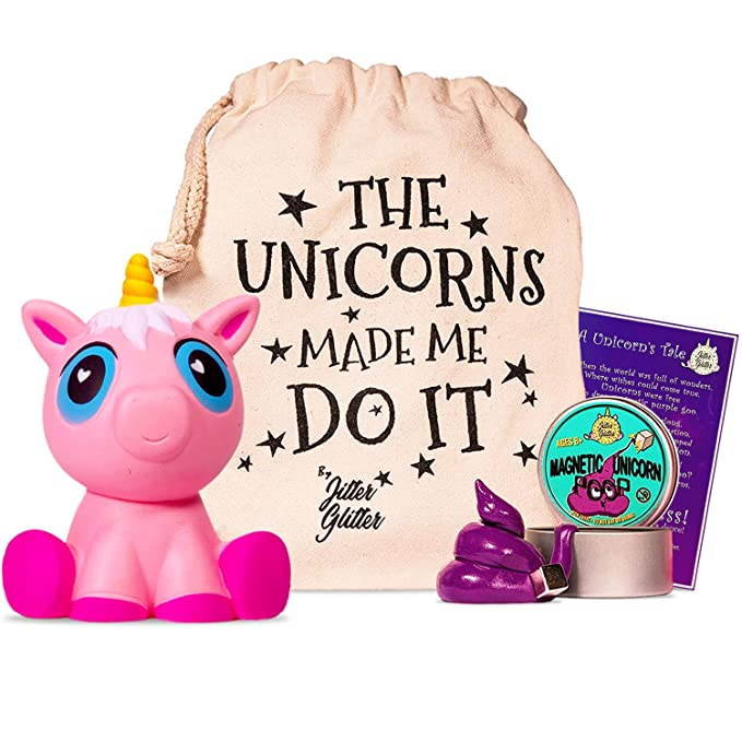 Magnetic Putty Unicorn Poop Stress Relief Kit - Funny Gift for Adults and Kids | Magnetic Unicorn Poop with Magnet | Cute Jumbo Pink Unicorn Squishy Slow Rising | Silly Therapy Office Desk Toy
