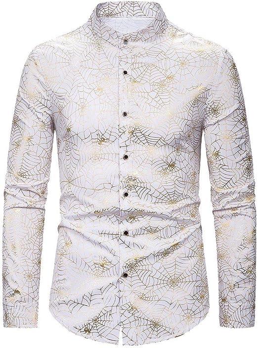 Camisas Hombre, Camisas Hombre de Manga Larga Casual Shirts Moda Ropa Hombres Corte Slim Fit Camisa de Solapa Printed Blusa ImpresióN Tops de Boda: Amazon.es: Ropa y accesorios