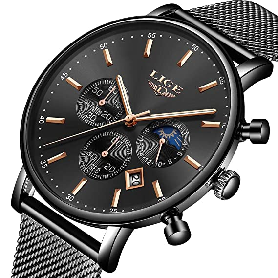 LIGE Reloj Hombre Deportivo Impermeable Inoxidable Reloj Moda Casual Calendario Cuarzo Analógico Correa De Malla Negro Reloj: Amazon.es: Relojes