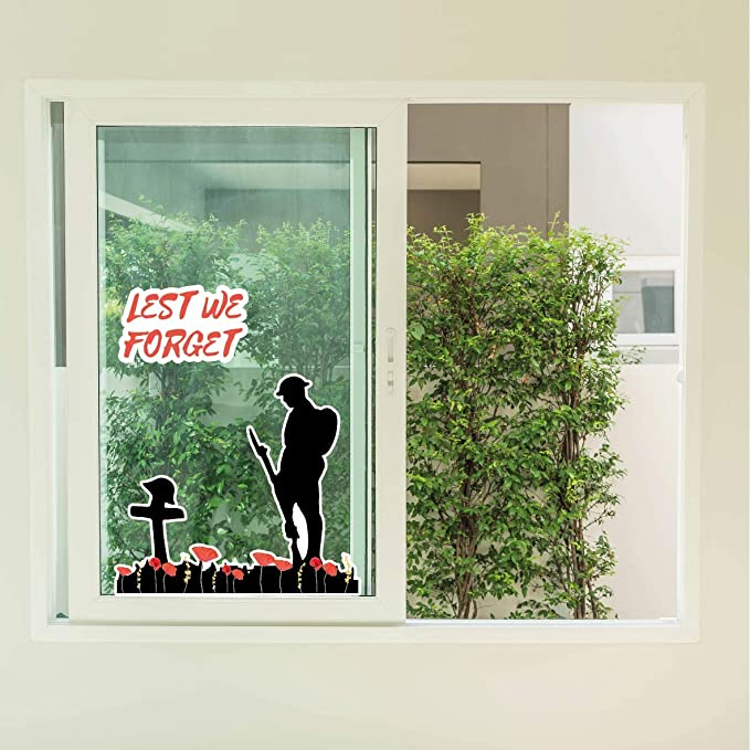 Influent UK Lest we forget Soldier showing respect and gratitude Remembrance Sunday Support key workers sticker sticker for window application SMALL