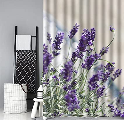 Idgreadecor Purple Green Brown Shower Curtains Beautiful Lavender Blossom Design For Child Boys Girls Bathroom Sets