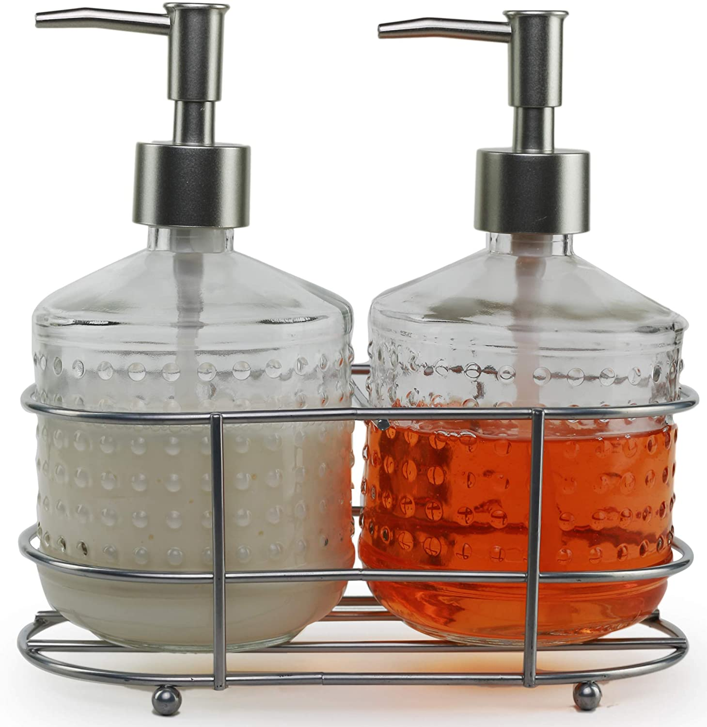 Circleware 32470 Hobnail Dispenser Bottle Pumps in Metal Caddy with Brushed Nickel Finish Set of 2 Bathroom Accessories Home Decor for Essential Oils, Lotions, Liquid Soaps 17.5 oz Vintage