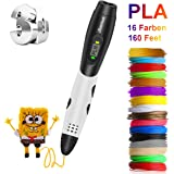 3D Pen, Jiamus 3D Printing Pen With LCD Screen Display Compatible with PLA ABS Mode Options, Set with 16 Colors 160 Feet 1.75mm Filament Refills for Kids and Adults