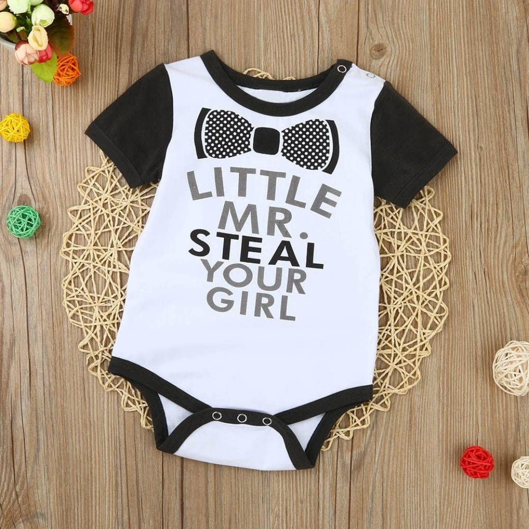 "Steal.../""Baby Boys Letters Printing Romper Ecurson /"" Little MR"