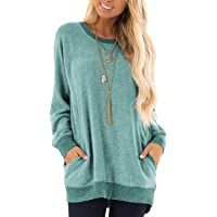 NSQTBA Womens Casual Sweatshirts Long Sleeve Oversized Sweaters with Pocket Shirts Tunic Tops S-2XL