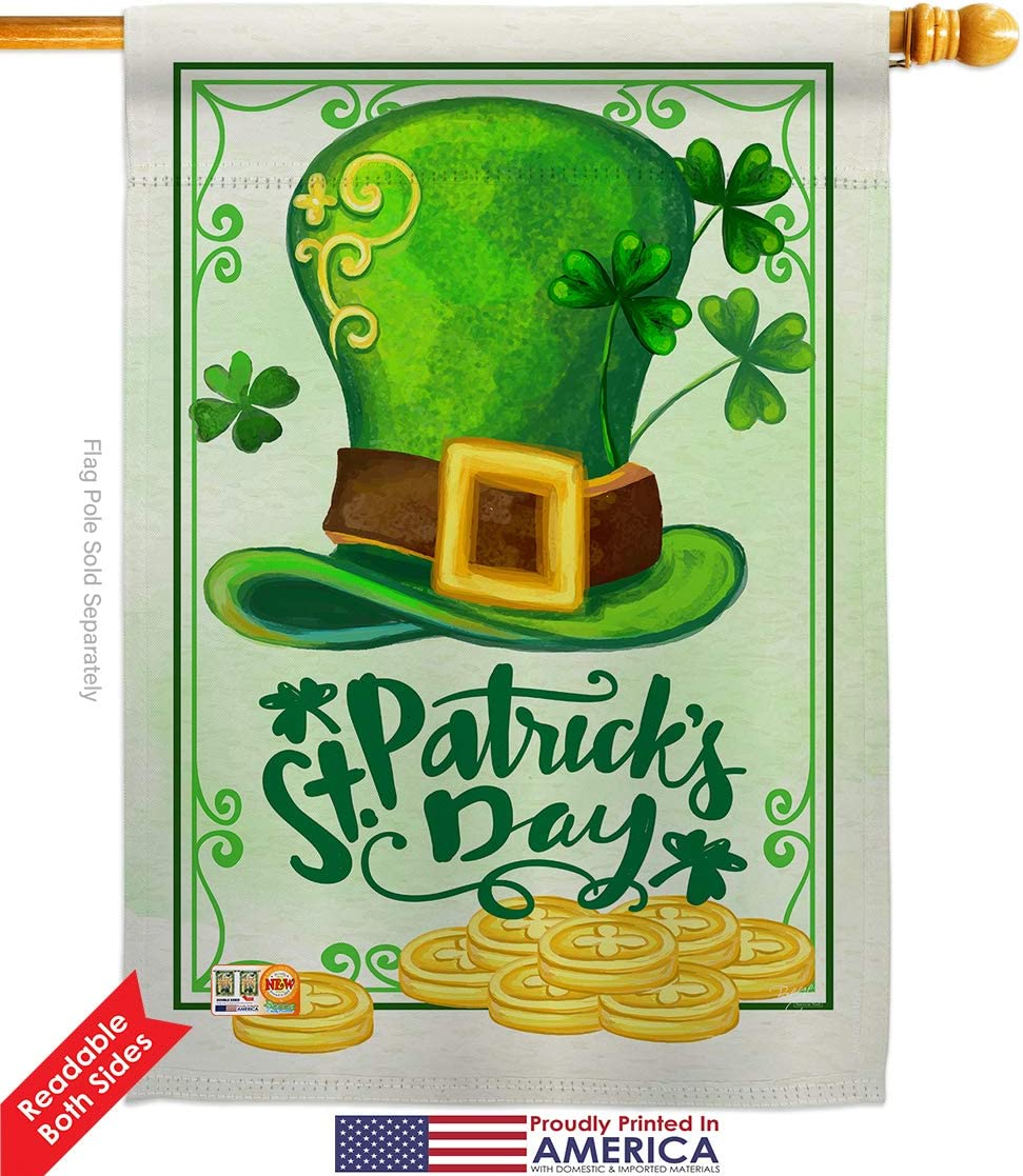 Amazon Com Breeze Decor Hs102033 Bo Lucky Hat Pat Day Spring St Patrick Decorative Vertical House Flag Set 28 X 40 Thick Fabric Garden Outdoor