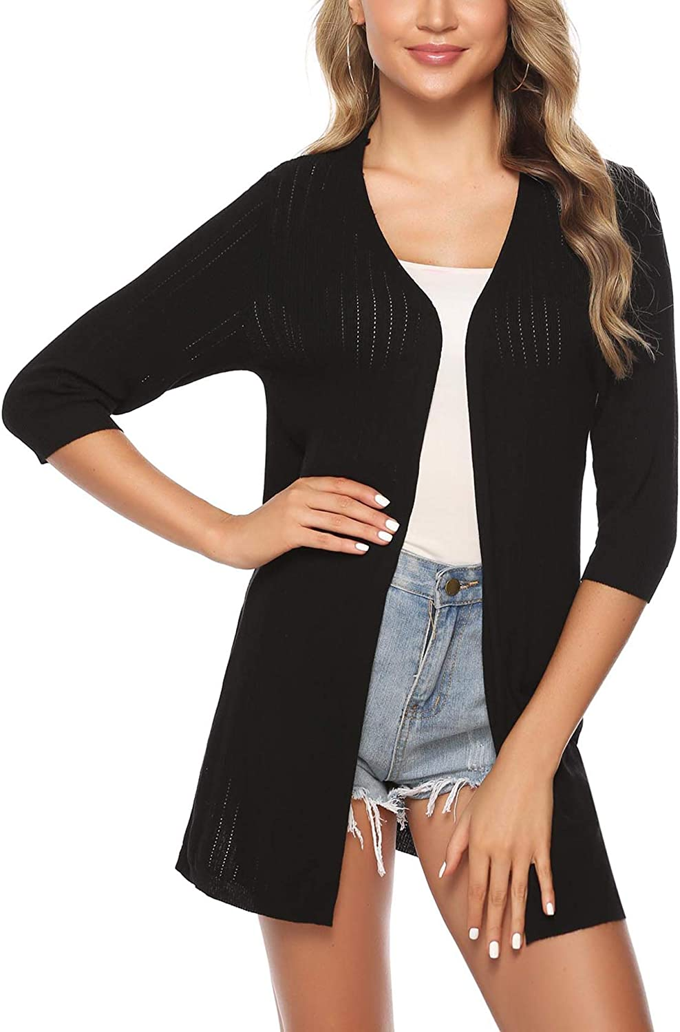 iClosam Womens Casual Knitted 3//4 Sleeve Lightweight Open Front Cardigan Sweater
