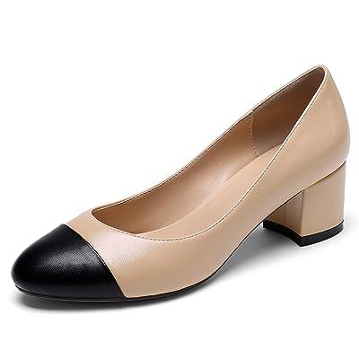 Eldof Round Cap Toe Pumps, Classy 2 Inches Block Heel Chic Pumps, Slip on Comfortable Chunky Heel for Office Wedding Dress | Pumps