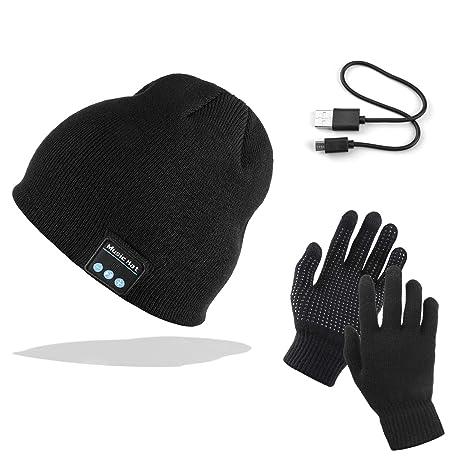 7f4db4c57909 AYPOW Bonnet Bluetooth avec Gants tactiles, Hiver Chaud tricoté sans Fil  Bluetooth Casque Musique Chapeau