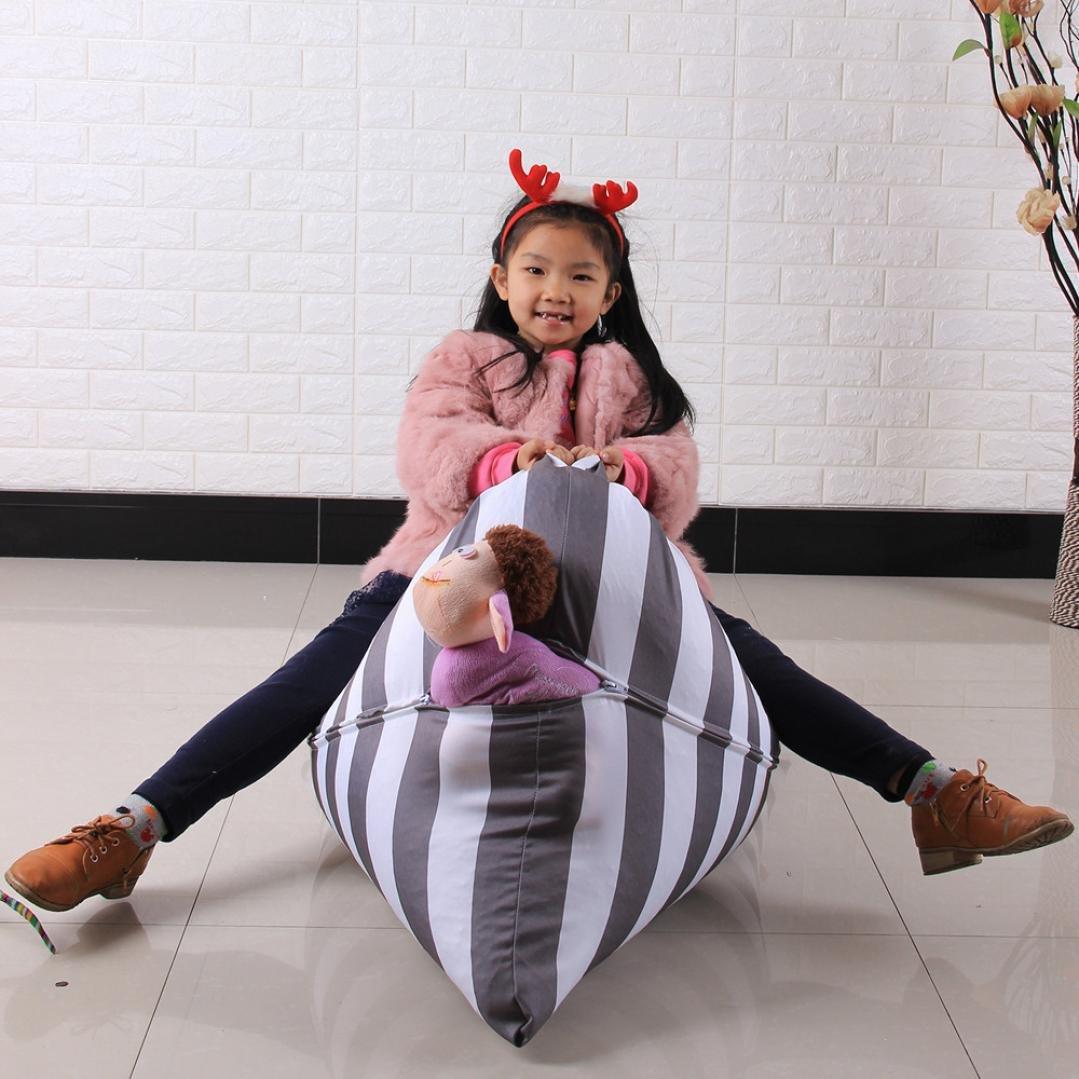 DDLBiz Kids Stuffed Animal Plush Toy Storage Bean Bag Chair Soft Pouch Stripe Fabric Chair (E) by DDLBiz (Image #3)