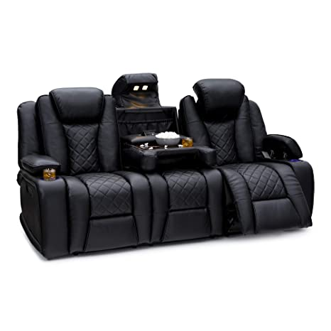 Seatcraft Europa Home Theater Seating Sofa - Leather Gel - Power Recline - Adjustable Powered Headrest - Fold-Down Table - in-Arm Storage - AC USB ...