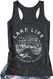 d2fcb2966014e LANMERTREE Women Graphic Tees Lake Life Letters Print Tank Top Sleeveless  Workout T-Shirt