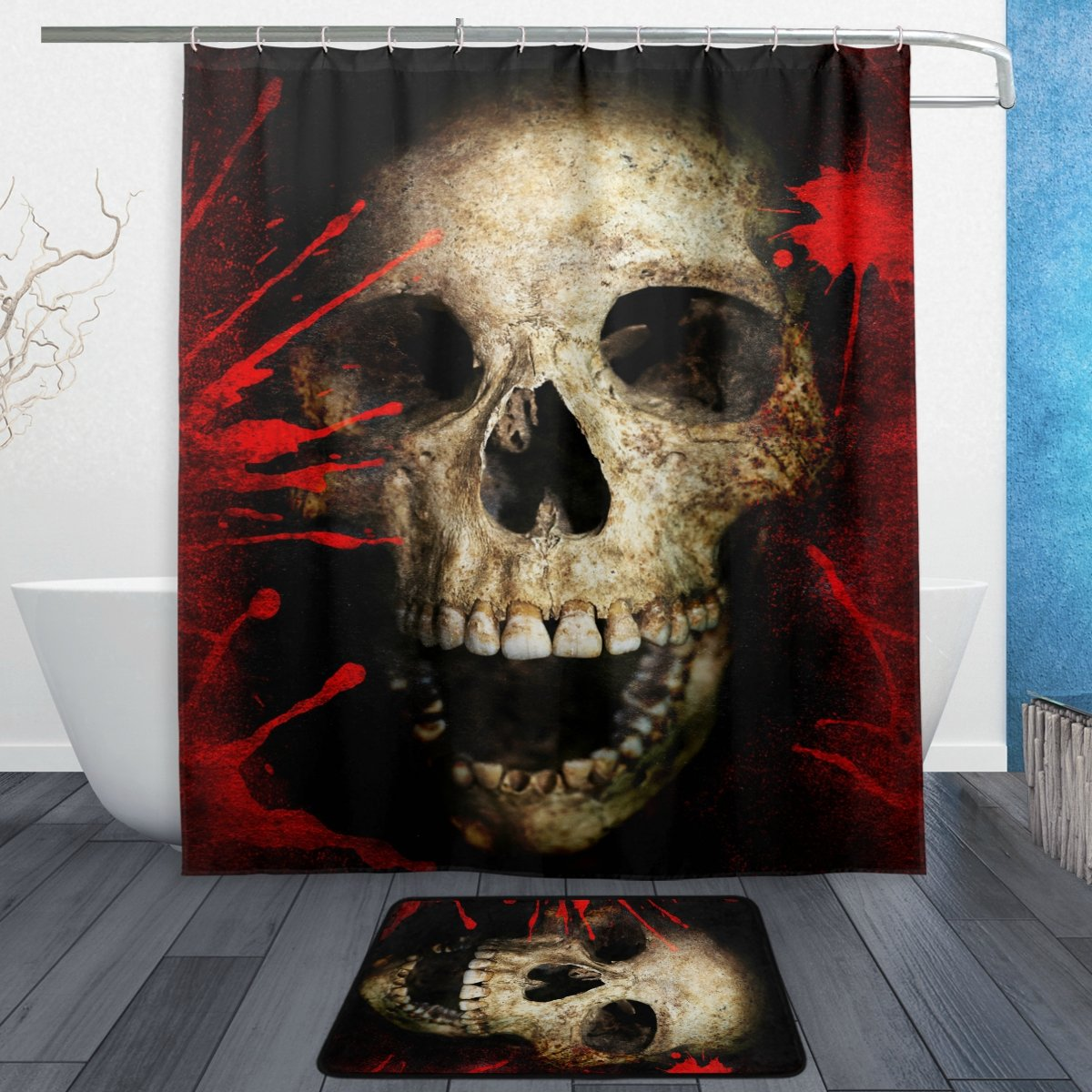 ALAZA Set of 2 Halloween 60 X 72 Inches Shower Curtain and Mat Set, Vintage Bloody Skull Waterproof Fabric Bathroom Curtain and Rug Set with Hooks