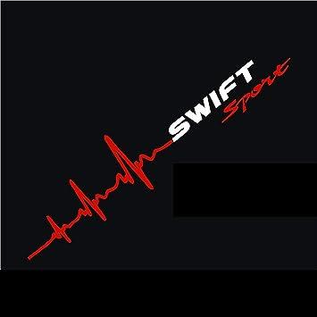 Myrockshirt Herzschlag Aufkleber Swift Sport Suzukiaufkleber Ca 30x7 Cm Scheibe Sticker Lack Herz Haufkleber Sticker Hochleistungsfolie Estrellina Glücksstern Auto