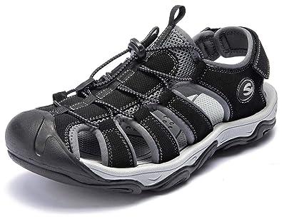 0a179bc9f761 GUBARUN Men s Sports Sandals Outdoor Athletic Slides Fisherman Beach Shoes  Traveling(10.5M,Black