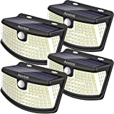Aootek New solar lights 120 Leds with lights reflector,270° Wide Angle, IP65 Waterproof, Security Lights for Front Door, Yard