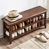 """ACRO Storage Bench Wooden Shoe Bench Rustic Solid Wood Entryway Bench (Brown,39.4"""")"""